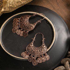 Bohemian Coin Rose Gold Tassle Earring